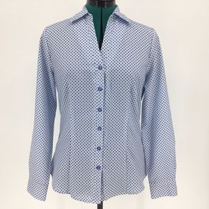 Haggar V-Neck Blue & White Button-Up Blouse, Small